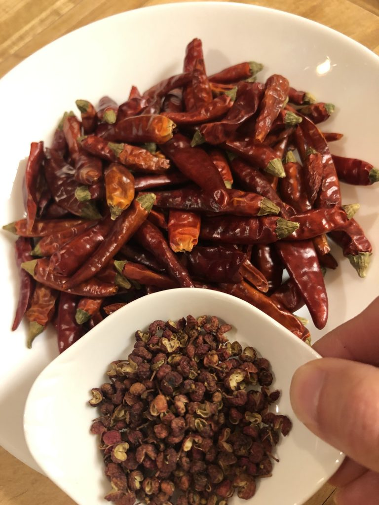 Dried chilies and Sichuan peppercorns