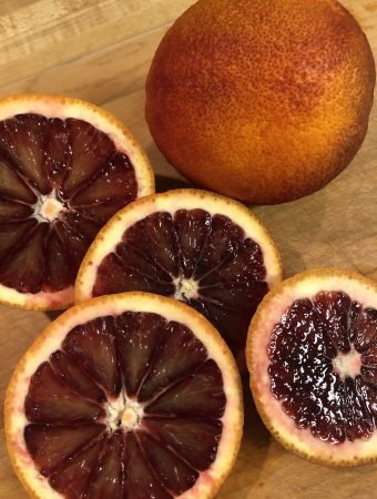 Blood oranges whole and cut