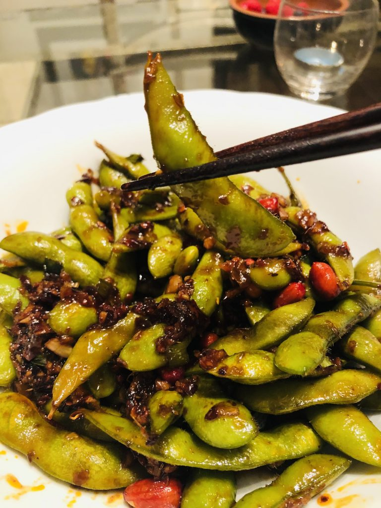 Spicy Edamame and chopsticks