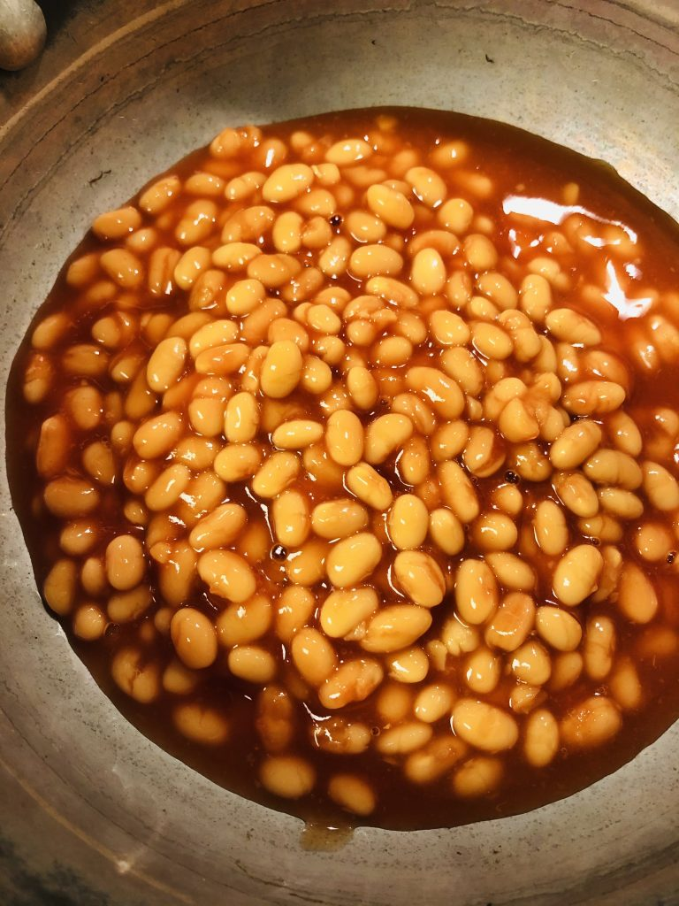 Heinz beans in tomato sauce in a saucepan