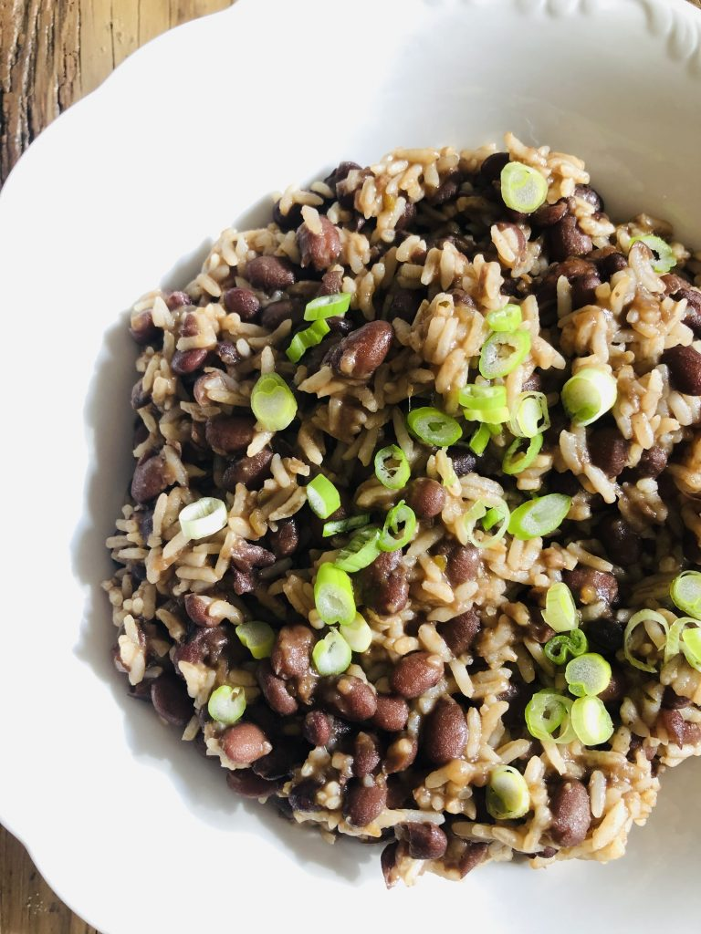 Cuban Black Beans and Rice in a white bowl