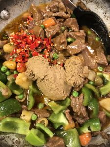 Beef caldereta with vegetables, Thai chilis, and liver spread
