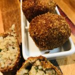 Boudin Balls on a white serving tray