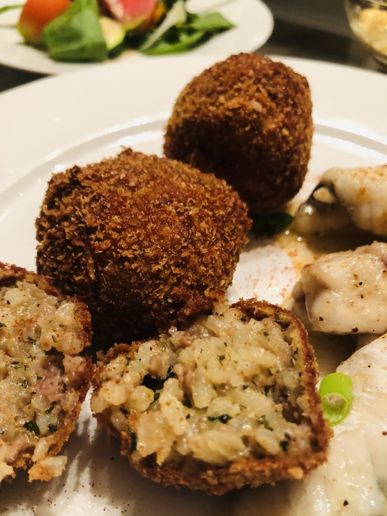 Boudin Balls on a white plate