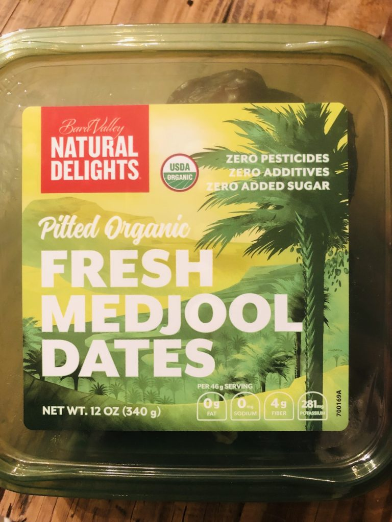 A package of Pitted Fresh Medjool Dates