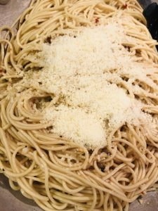 Garlicky, Buttery, and Cheesy Asian Noodles with parmesan cheese